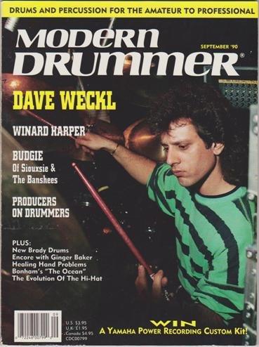 Ocean Tom Drum (Modern Drummer Magazine (September 1990) (Dave Weckl - Winard Harper - Budgie of Siouxsie & The Banshees))