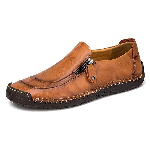Mocasín de Cuero para Hombre Zapatos cómodos y Ligeros de Punta Redonda Pisos Mocasines Antideslizantes Zapatos de Trabajo de Negocios más amplios Tamaño ...