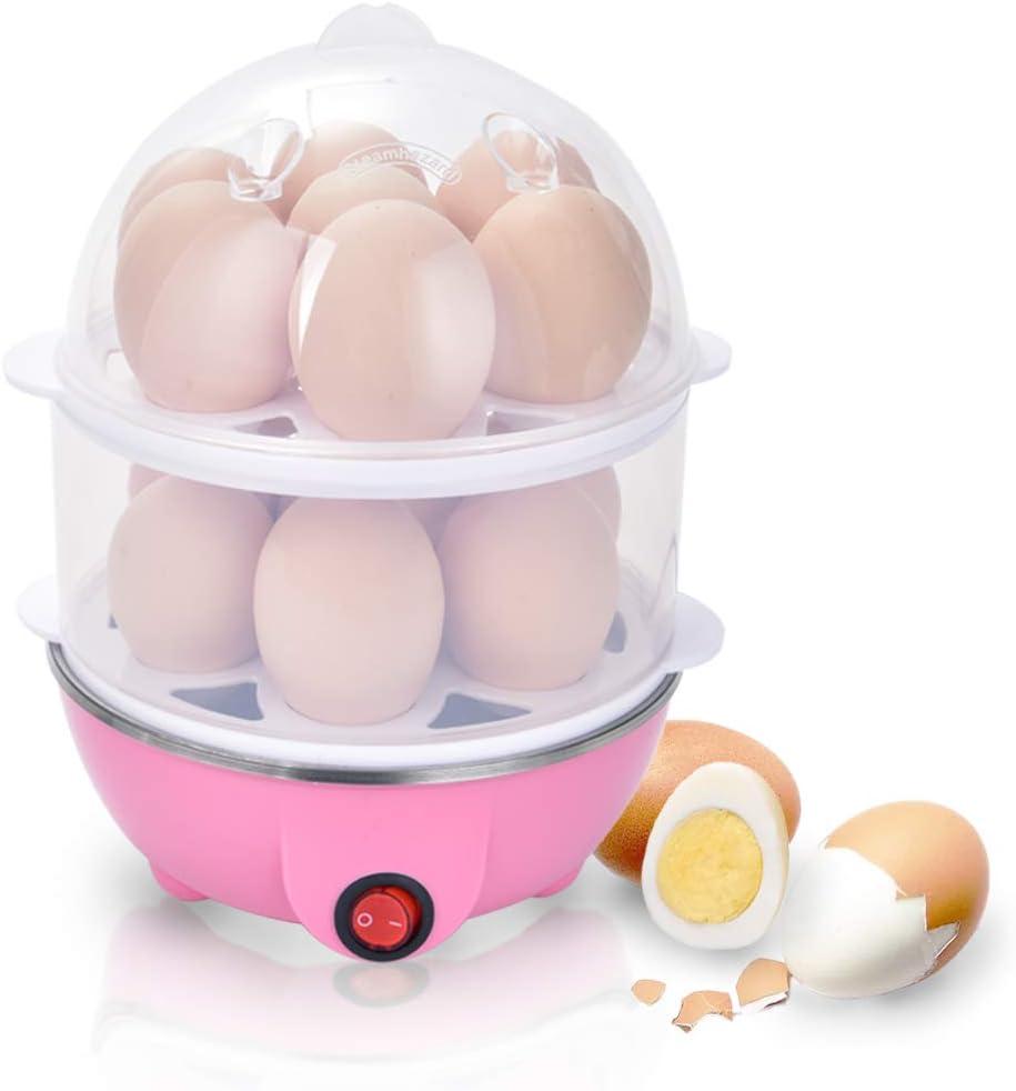 Electric Egg Boiler, 2-Layer Rapid Egg Cooker Maker Egg Poacher Food Steamer Automatic Shut-Off for Hard Soft Boild Eggs Quick Healthy Breakfast.