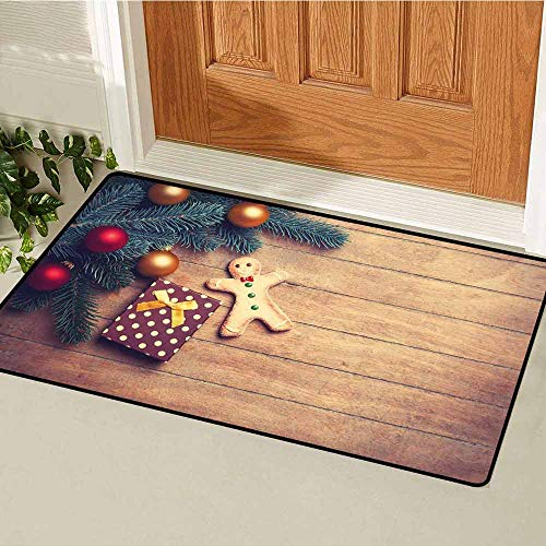 (Gloria Johnson Gingerbread Man Inlet Outdoor Door mat Pine Branches Delicious Cookie and Present on Wood Planks Catch dust Snow and mud W29.5 x L39.4 Inch Light Brown Hunter Green Red)