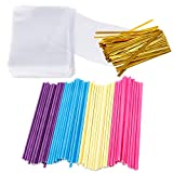 Augshy 300 Pcs Colorful Cake Pops Making Tools,More Larger Than Other Lollipop Sticks and Clear Bags
