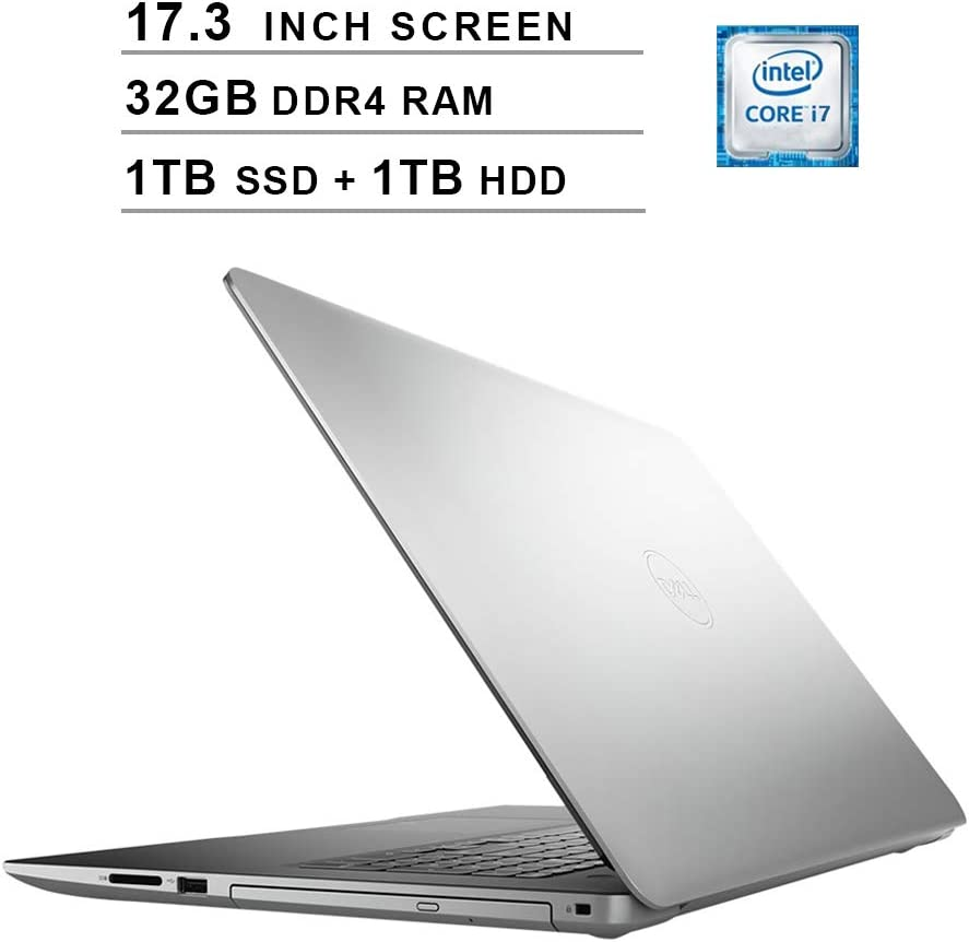 2020 Dell Inspiron 3793 17.3 Inch FHD 1080P Laptop (Intel Core i7-1065G7 up to 3.9GHz, NVIDIA GeForce MX230 2GB, 32GB DDR4 RAM, 1TB SSD (Boot) + 1TB HDD, DVD, HDMI, WiFi, Bluetooth, Windows 10)