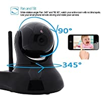 [Security WIFI IP Camera] J-DEAL® Indoor Wireless Day Night Baby Monitor / Surveillance WIFI Network CCTV IR Security Camera (iOS & Android Mobile View, Motion Detection, pan 345° tilt 90°) Black
