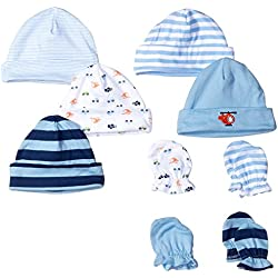 Gerber Baby 9 Piece Cap and Mitten Bundle, Transportation, New Born