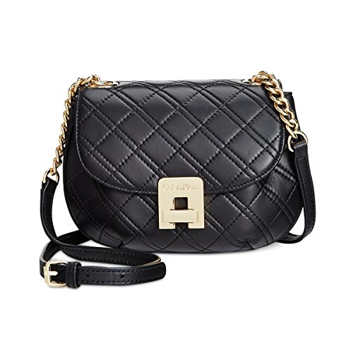 Calvin Klein Permanent Quilted Lamb Crossbody, Black/Gold by Calvin Klein