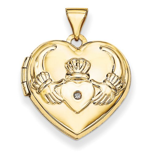 Icecarats Créatrice De Bijoux Diamant 14K Coeur Claddagh Médaillon