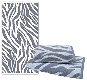 Dyckhoff - Toalla Ducha Toalla Zebra gris blanco con cenefa * Nuevo *, piel de cebra, toalla de manos 50 x 100 cm: Amazon.es: Hogar
