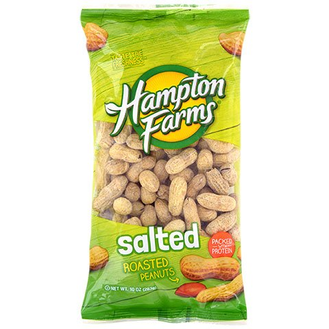 LJIF Whole Hampton Farms Raw Peanuts Salted & Roasted In Shell Shelled (1) 10 Ounce Bags (Salted Shell Peanuts)
