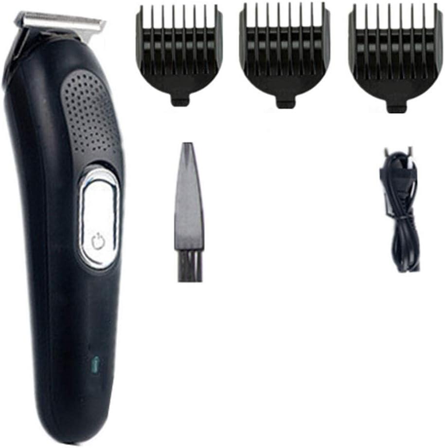 IQQI Cortapelos Clipper Grabado Marcos podadoras eléctricas en forma de T Cabeza eléctrico Fader cortadora de cabello Clipper Recorte,Negro