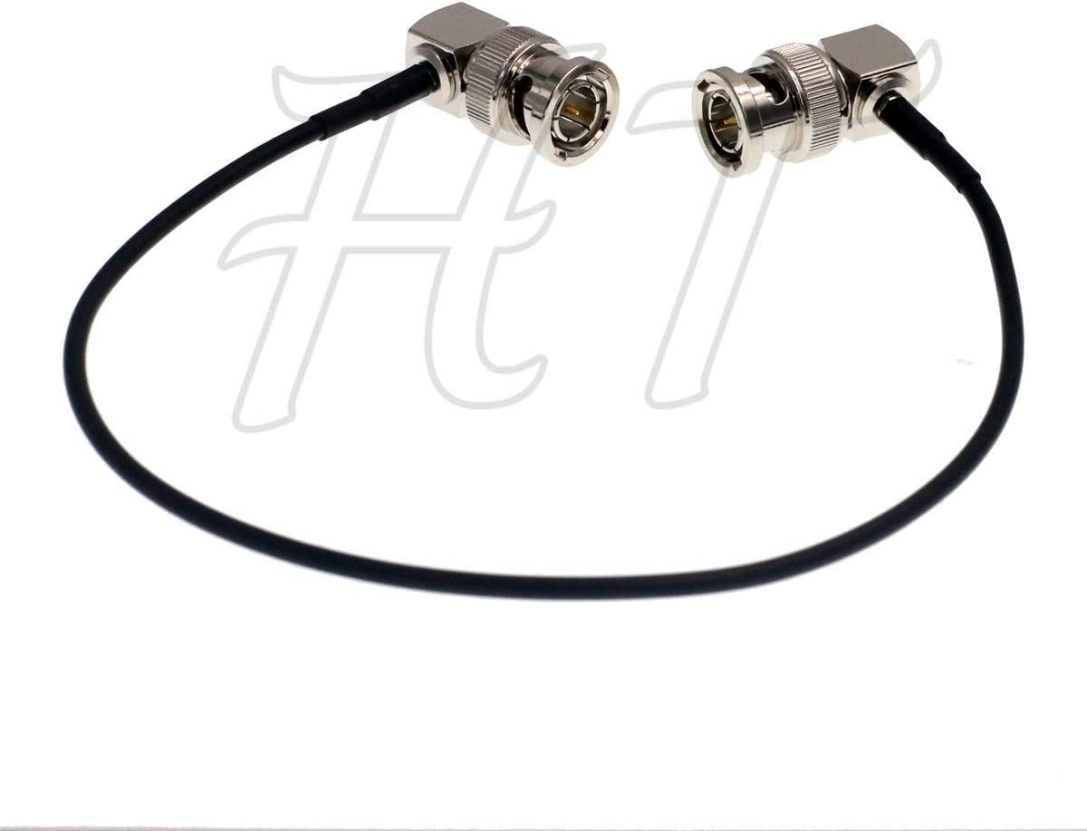 HT-Cable Camera Monitor HD SDI 3G Video Coaxial Cable 75ohm Right Angle BNC to Right Angle BNC Cable 1m, 10pcs