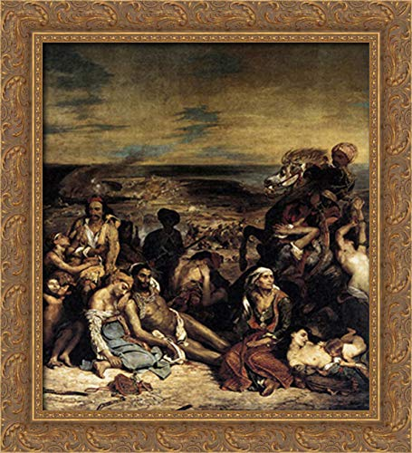 The Massacre at Chios 20x22 Gold Ornate Wood Framed Canvas Art by Eugene Delacroix (The Massacre At Chios By Eugene Delacroix)