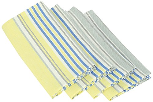 Mahogany T408NP Summer Stripe Napkin, 18 by 18-Inch, Yellow/Blue, Set of 4