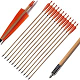 FlyArchery Archery Target Wooden Arrows, 32Inch Hunting Practice Arrow Turkey Feather Fletched with Field Points Tips for Recurve Bow 12 Pack