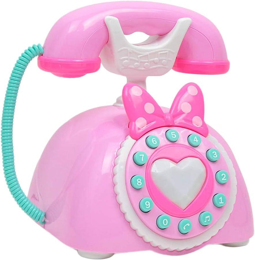 MagiDeal Juguete de Teléfono Antiguo Vintage Plástico Juego de rol para Niños Rosado/Azul - Rosado