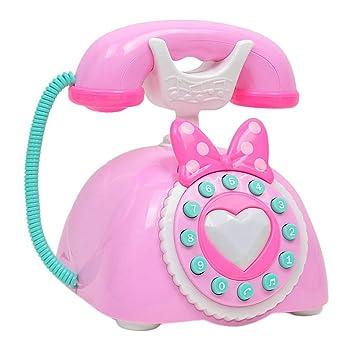 Rosado Juego Para Niños De Teléfono Plástico Magideal Antiguo Rosadoazul Juguete Vintage Rol b6g7yvYf