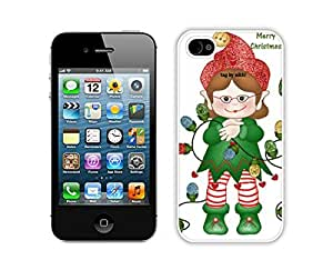 Special Custom Made Iphone 4S Protective Skin Case Merry Christmas White iPhone 4 4S Case 47