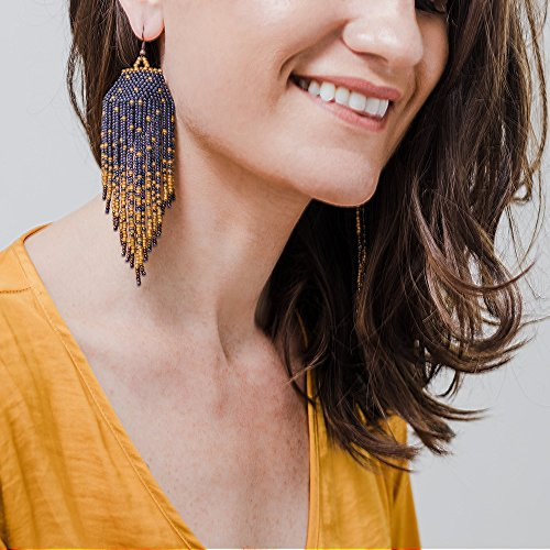 Earrings Handmade Dangling (Long Silver and Gold Beaded Fringe Earrings for Women | Artisan Made in Guatemela by the Madres Collective | Fair Trade Fashion)