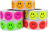 3/4'' Inch Round Happy Smiley Face Stickers Fluorescent Bulk Pack Adhesive Labels - Orange, Pink, Green, Yellow, Red - 500 Each Color - 2,500 Total Stickers
