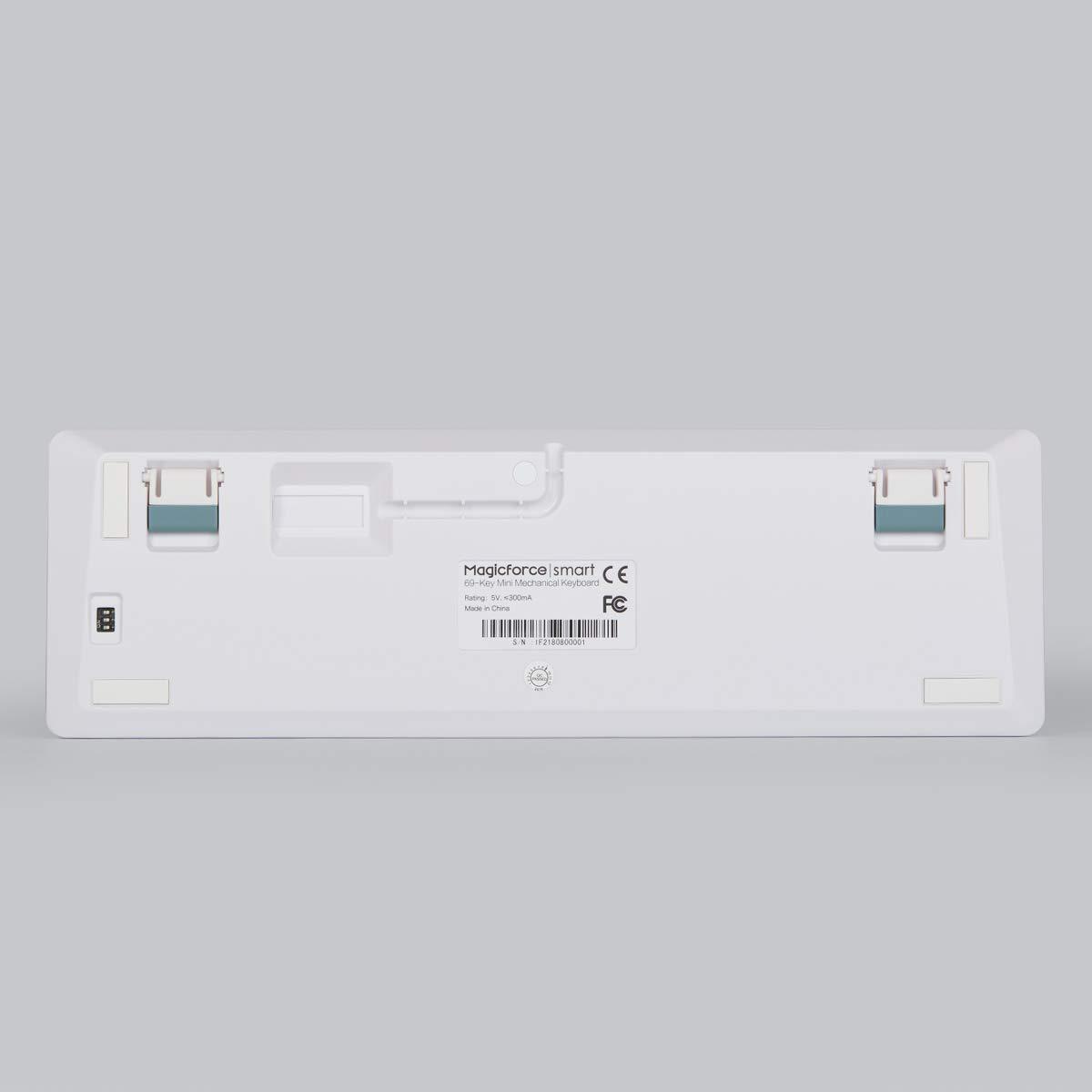 Qisan Wired Tastiera da Gioco Meccanica PBT Keycaps 69 Keys Gateron Brown Switch Bianco retroilluminato ES QWERTY Layout Gaming Keyboard-White