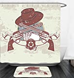 Nalahome Bath Suit: Showercurtain Bathrug Bathtowel Handtowel Western Insignia and Banner with Two Guns Hat Pistols Poker Ace Cowboy Texas Chesnut Brown Slate Blue