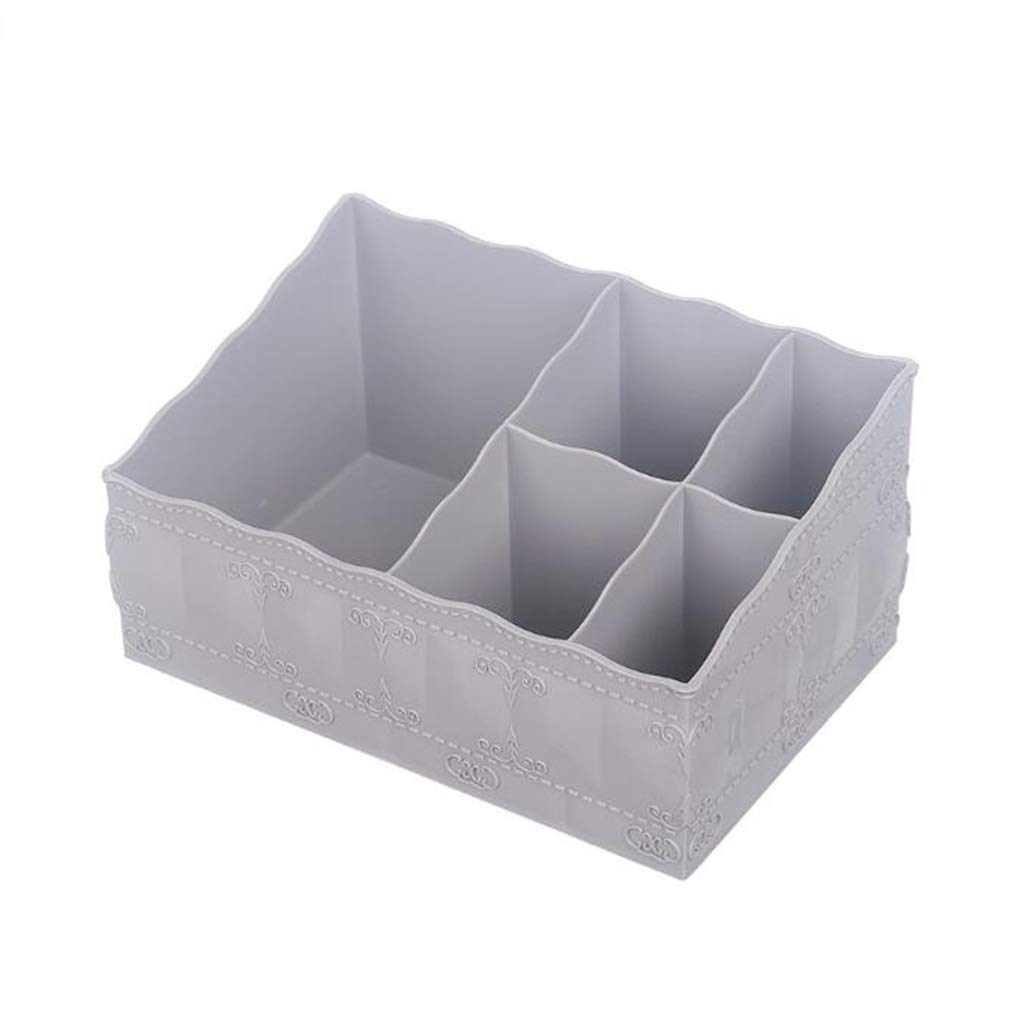 DDPGOFMB Cosmetic Organizer Cosmetic Organizer European Plastic Home Five Grid Cosmetic Storage Box Jewelry Skin Care Products Finishing Box (Color: Gray) (Color : Gray, Size : -)