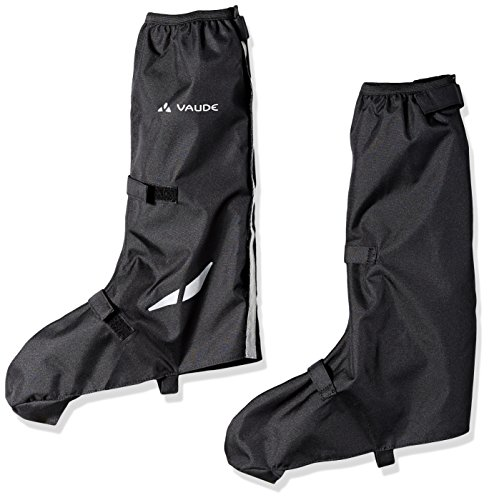 (VAUDE Unisex Bike Gaiter Long -Waterproof Shoe Cover with Reflective Elements - Breathable Cycling Overshoes with full length velcro closure - Black - Size 36 - 39)