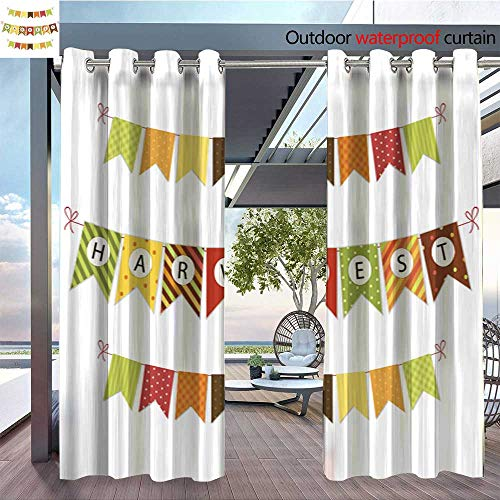 QianHe Outdoor Blackout Curtains Cute-Autumn-Bunting-Flags-with-Letters-in-Traditional-Colors.jpg Outdoor Privacy Porch Curtains W96 x L84(245cm x 214cm) -