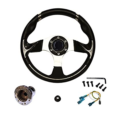 "EZGO RXV Steering Wheel with Adapter, 13"", Carbon Fiber/Chrome - PF12037PKG"