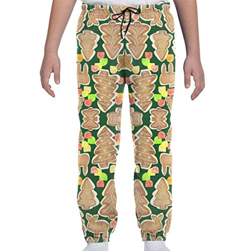 DHIAJSA Youth 3D Gingerbread Trees Moose and Gumdrops Fabric Joggers Pants Trousers Sport Track Sweatpants Baggy