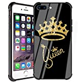 iPhone 7 Plus Case, iPhone 8 Plus Case Queen Golden Crown Pattern Gold Glitter Stylish Design Slim Fit Luxury Tempered Glass Black Cover+Soft Silicone Shockproof Bumper Case for iPhone 7 Plus/8 Plus