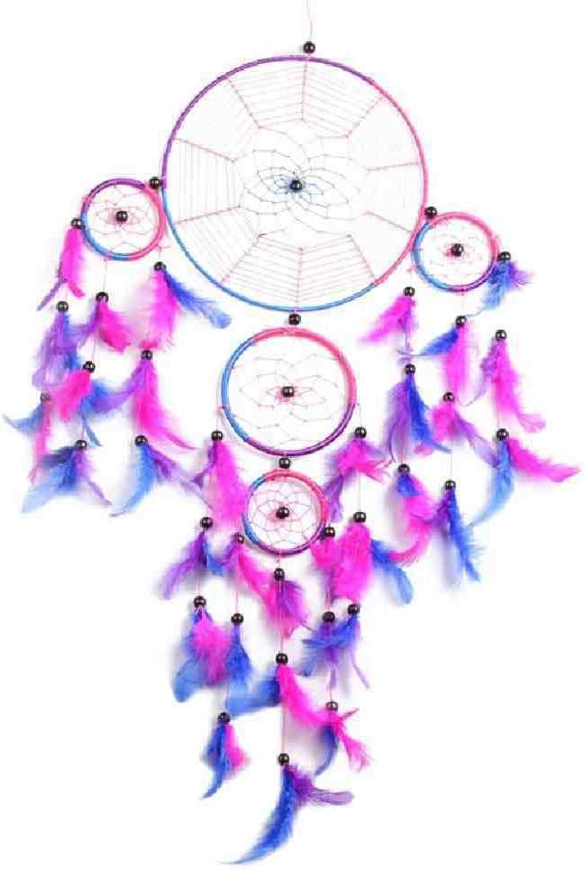 JYHW Blue Dream Catcher Decor Indian 5 Circle Blue Dream Catcher Columpios de Plumas Colgante de Pared Decoración del Hogar para El Regalo 2