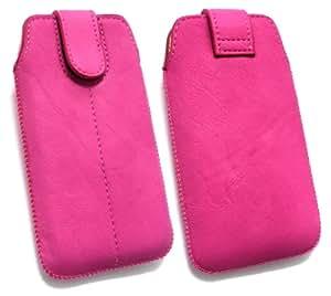 Emartbuy ® Hot Pink Pu Cuero Slide Con Seguridad En La Bolsa / Caja / Manga / Soporte (Tamaño 1) Con Mecanismo Pull Tab Adecuada Para Nokia Pureview 808