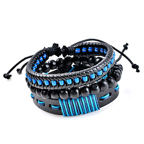 Young & Forever MenTastic Collection Blue Leather Wooden Beads Bracelet Pack of 3 For Men / Boy B752 by Young & Forever