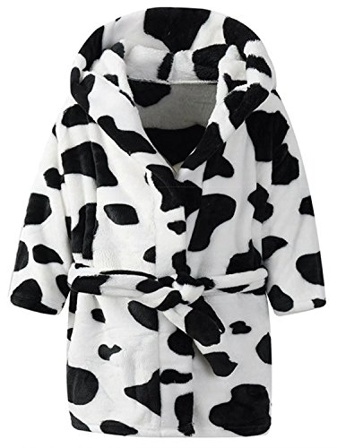 Ameyda Unisex Kids Hooded Cow Robe Fleece Bathrobe Children's Pajamas Sleepwear -