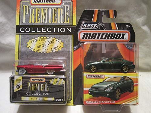 Best of Matchbox Mercedes-Benz CLS 500 & Premiere Collection Series 6 57 T-Bird Die Cast 1/64 Scale 2 Car Bundle!