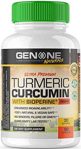 GenOne Nutrition- Turmeric Curcumin with Bioperine Black Pepper Extract - 1500mg for Joint Pain Relief and Inflammation Support - 30 Servings, 90 Capsules