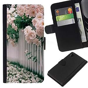 All Phone Most Case / Oferta Especial Cáscara Funda de cuero Monedero Cubierta de proteccion Caso / Wallet Case for Sony Xperia Z2 D6502 // Roses White Pink Blossoming