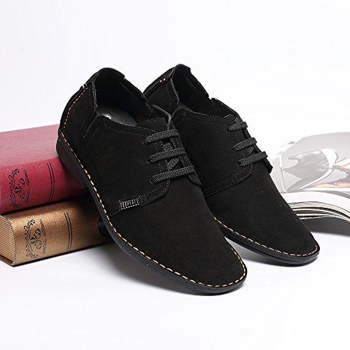 CHAMARIPA Zapatos con cordones de cuero hombre,negro y azul - 6,5 cm más alto - X58H56 Negro