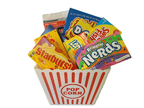 Ideal Big Movie Night Popcorn and Candy Gift Bundle - 10 Items: Popcorn Tub, Popcorn Bags, Extra Butter Popcorn, Fiddle Faddle, Dots, Starburst, Sugar Babies, Swedish Fish, Lemonhead and Rainbow Nerds