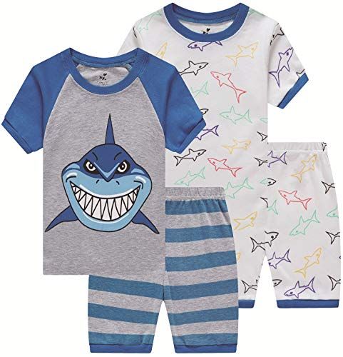 (Pajamas for Boys Children 4 Pieces Shark Sleepwear Baby Clothes Summer Kids Short PJs Set 6t )
