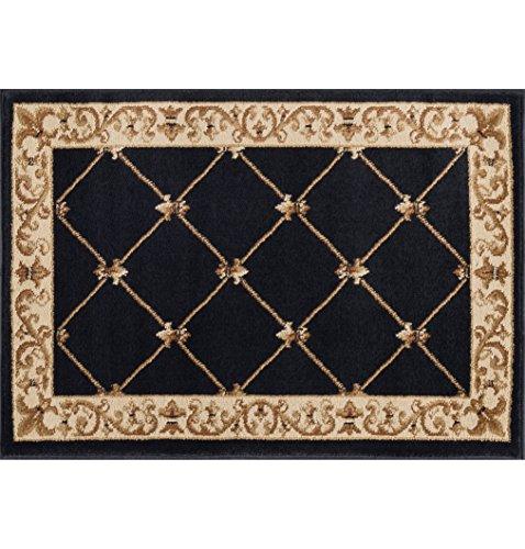Border Black Scatter Mat Rug, 2' x 3' (Fleur De Lis Rectangle Rug)