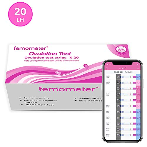 Femometer Ovulation Test Strips Kit, 20 LH OPK, Sensitive Fertility Predictor Testing Sticks, Accurate Results with Smart App (iOS & Android) Automatically Recognizing Test Results (Best Ovulation Test 2019)
