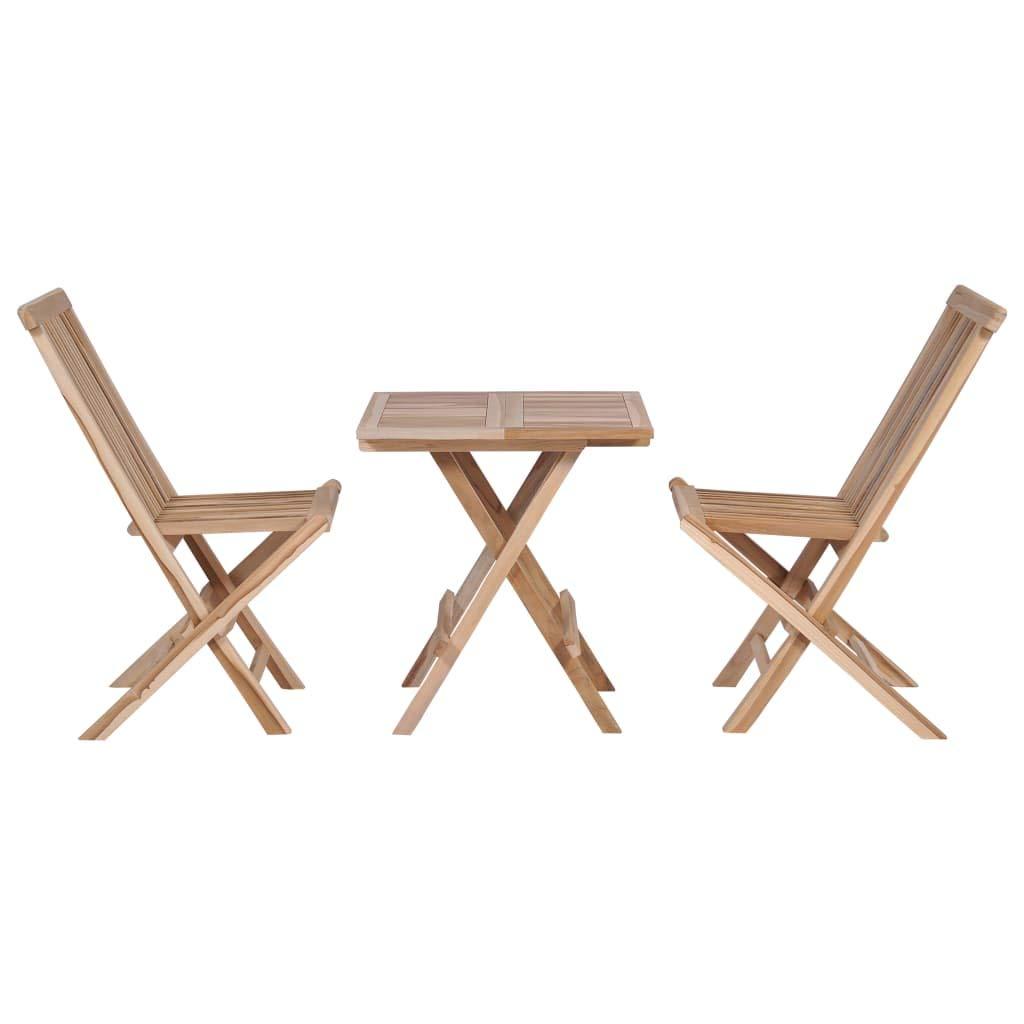 Petit Mobilier De Jardin En Bois Massif Avec Table Pliante Et 2 Chaises En Teck