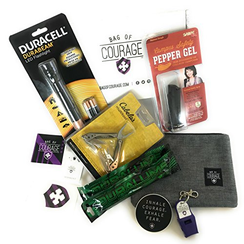 COLLEGE SAFETY KIT - DORM ROOM ESSENTIALS- Sabre Red Campus Safety Gel Spray – LED Flashlight – Cabela's Multitool + Emergency Whistle, Sewing Kit, 2 Emergency Glow Sticks; Lot of 11 as Shown by Bag of Courage / Prepared and Courageous