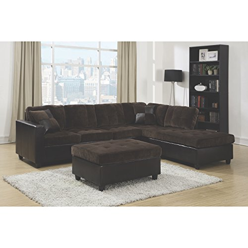 Coaster Home Furnishings 505645 Casual Sectional Sofa, Chocolate