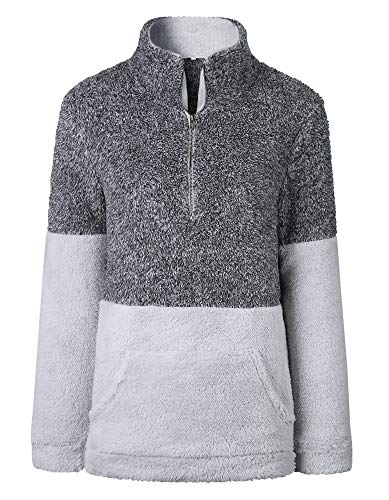 (BTFBM Women Long Sleeve Zipper Sherpa Sweatshirt Soft Fleece Pullover Outwear Coat with Pockets (Grey, Small))