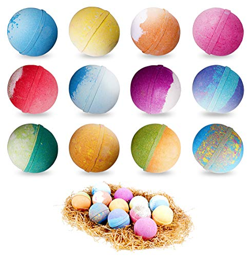 12 Super Large 5oz Bath Bombs Each Best Gift Ideas for Women Teen Girls and Kids Handmade with Natural Vegan Shea & Cocoa Butter Spa with Fizzies and Included 12 Candles Mothers Day Gifts