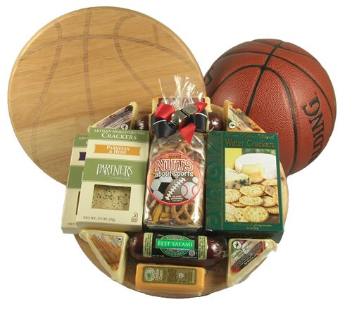 Slam Dunk - Basketball Gift Basket With Meat and Cheese on Deluxe Bamboo Basketball Cutting Board