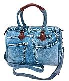 Bijoux De Ja Unique Large Blue Denim Doctor Style Top Handle Shoulder Handbag BL070