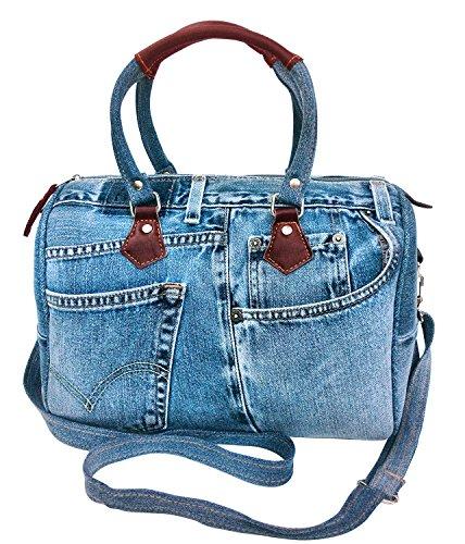 (Bijoux De Ja Unique Large Blue Denim Doctor Style Top Handle Shoulder Handbag BL070)